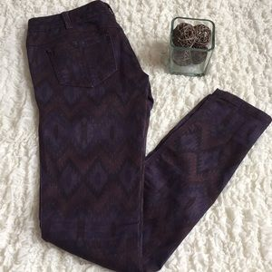Free People Purple Aztec Skinny Jeans